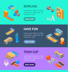 bowling game banner horizontal set isometric view vector image
