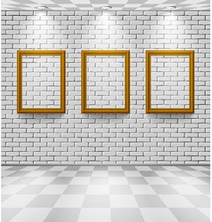 Brick room with frames vector image