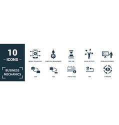 Business mechanics icon set monochrome sign vector