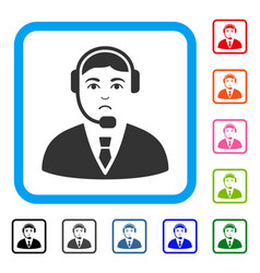 call center operator framed pitiful icon vector image