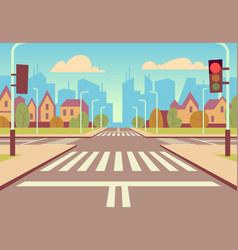 Cartoon city crossroads with traffic lights vector