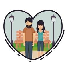 Cartoon couple inside heart design vector image
