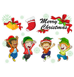 Christmas card template kids dancing vector