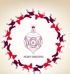 Christmas colorful wreath with deer and ball vector