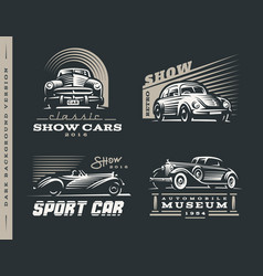 classic car set on dark background vector image