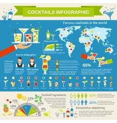 Cocktails consumption infographic presentation vector image