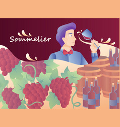 Colorful with a sommelier vector