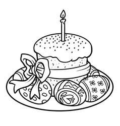 Coloring book easter cake and colored eggs vector