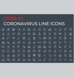 coronavirus covid19-19 pandemic icons set vector image