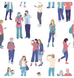 crowd people using smartphones seamless pattern vector image