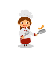 Cute girl cooking pancakes happy little cook with vector