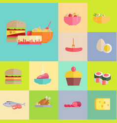 Delicious meals and desserts set vector