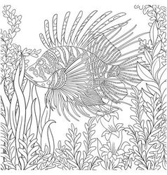 Entangle stylized cartoon zebrafish vector