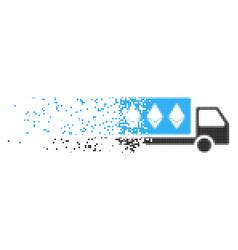 Ethereum delivery car dissolving pixel icon vector