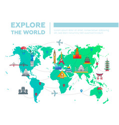 Explore world - map with famous landmarks vector