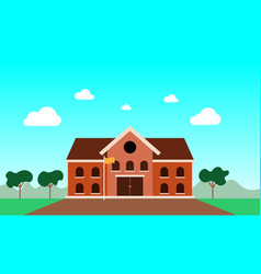 flat design school building welcome back vector image