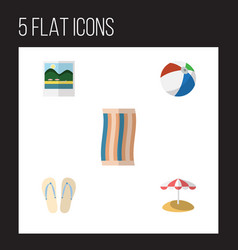 Flat icon beach set of wiper sphere parasol and vector