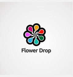 flower drop with colorful concept icon element vector image