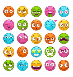 funny cartoon emoji characters set round comic vector image