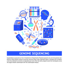 genome sequencing round concept in flat style vector image
