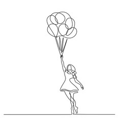Girl flying with balloon continuous one line vector
