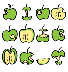 green bitten apple vector image