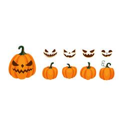 Halloween pumpkin and smile faces generator set vector
