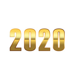 happy new year number 2020 gold 3d number 2020 vector image