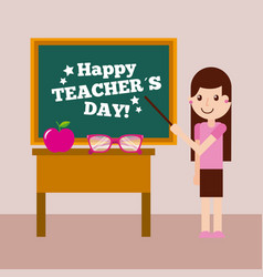 happy teacher day card girl chalkboard and desk vector image