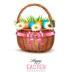 Holiday background with basket full of Easter eggs vector image vector image