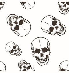 human skull seamless pattern black on white vector image