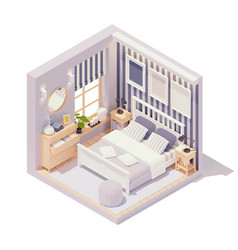 isometric bedroom interior vector image