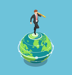 isometric businessman standing on world and vector image
