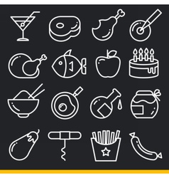 Line kitchen icons set vector