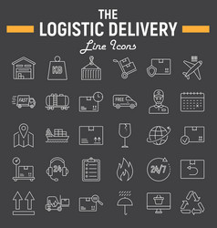 Logistic thin line icon set delivery symbols vector