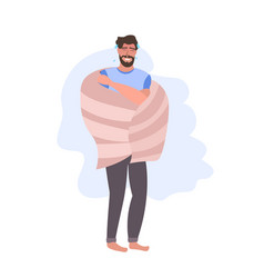 Man in sweat catching cold covered with blanket vector
