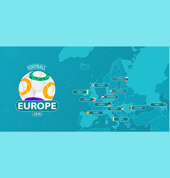 Map europe with all 12 host countries vector