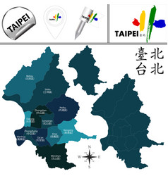 Map of taipei taiwan with districts vector
