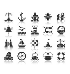 Marine black silhouette icons set vector