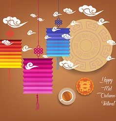 Mid autumn festival with lantern colorful vector