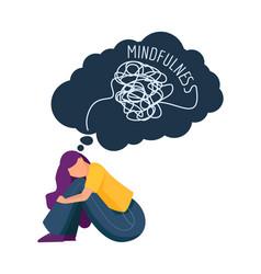 mindfulness girl has mental problems sad female vector image