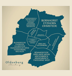 Modern city map - oldenburg city of germany with vector