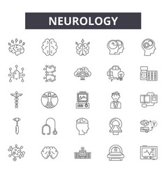 Neurology line icons signs set outline vector