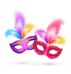 Pair of bright carnival masks with colorful vector