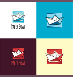 paper boat logo and icon vector image