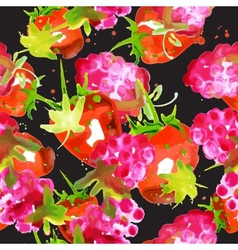 pattern of watercolor strawberry and raspberry vector image
