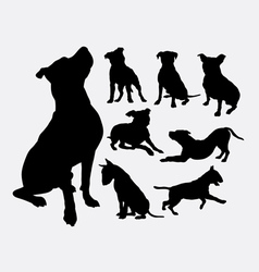 Pitbull bulldog terrier dog animal silhouettes vector