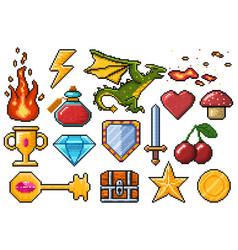 pixel game elements games ui magic items fire vector image
