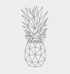 polygonal pineapple fruit isolated vector image