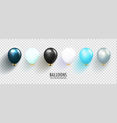 realistic glossy balloons on transparent vector image